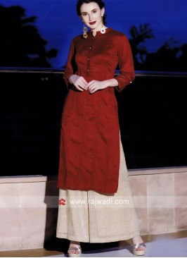 Red Satin Silk Kurti