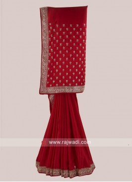 Red Satin Silk Saree with Border