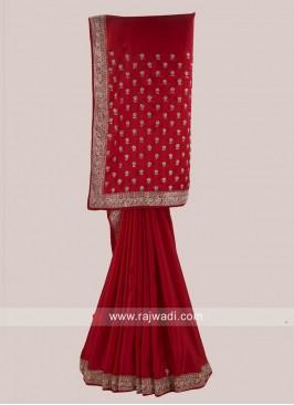 Red Satin Silk Saree with Border