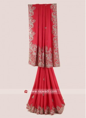 Red Satin Silk Wedding Saree