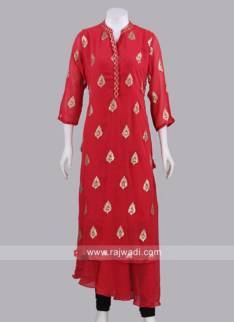 Red Short Long Designer Kurti