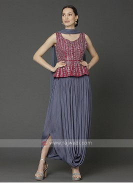 Red & Steel Blue Top With Dhoti Pant