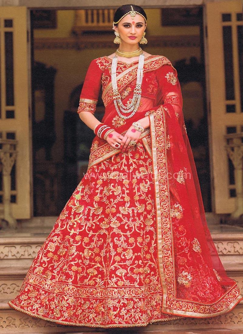 Red Stone and Pearl Work Bridal Lehenga Saree