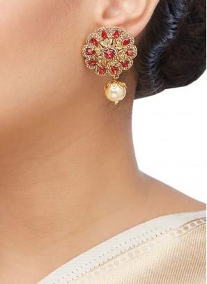 Red Stone Stud Earrings