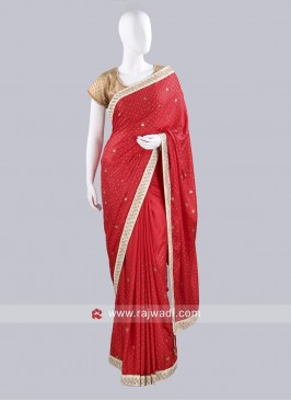 Red Taffeta Silk Choli Saree