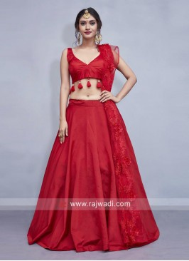 Red Taffeta Silk Lehenga Choli with Dupatta