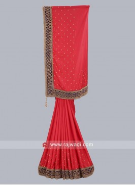 Red Taffeta Silk Saree