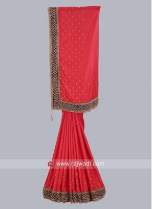 Red Taffeta Silk Saree
