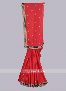 Red Taffeta Silk Wedding Saree