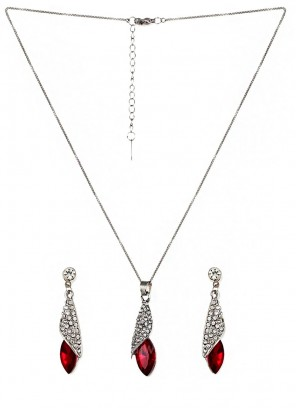 Red Tear Drop Pendant Set