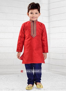 Red Thread Work Kids Kurta Pajama