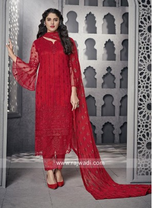 Red Trouser Suit With Matching Dupatta