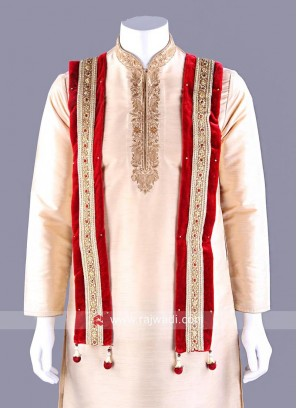 Red Velvet Embroidered Dupatta