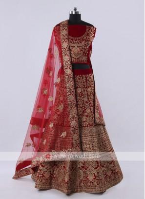 Red velvet fabric lehenga choli