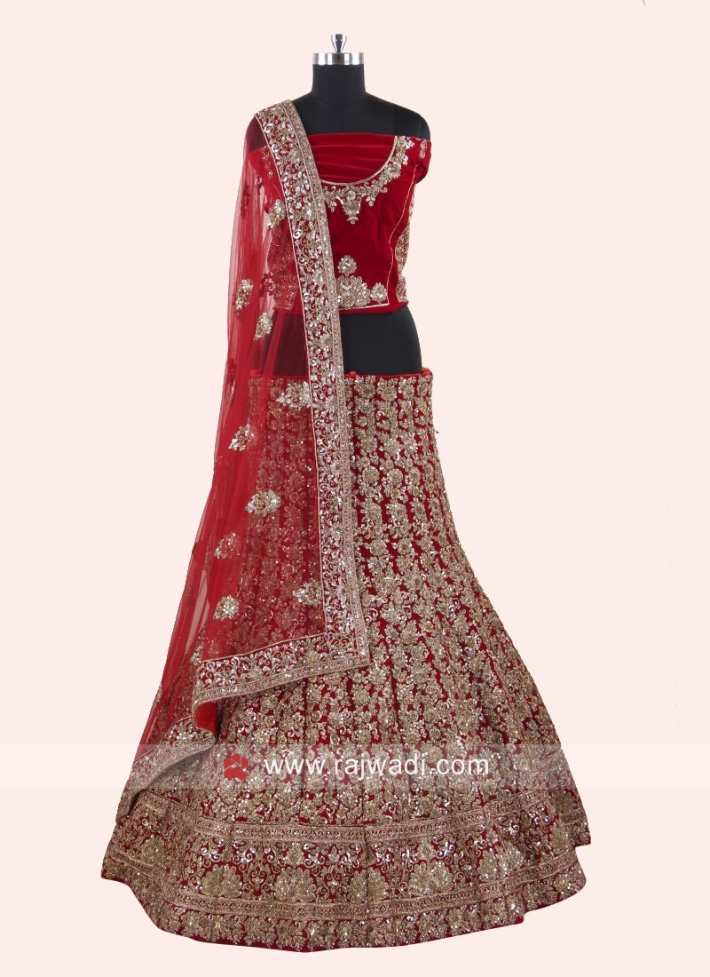 Red Velvet Heavy Lehenga Set