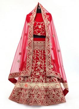 Red Velvet Lehenga Choli