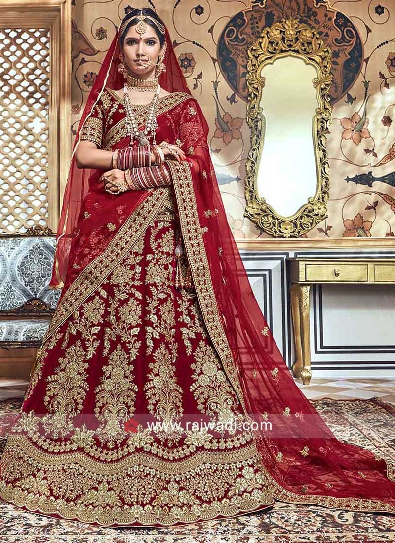 Red Velvet Lehenga Choli for Bride