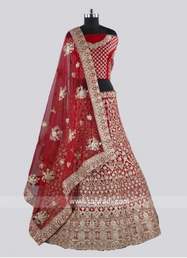 Red Velvet Lehenga Set with Dupatta