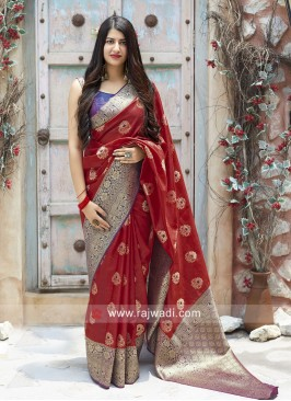 Red Weaving Saree with Contrast Blouse