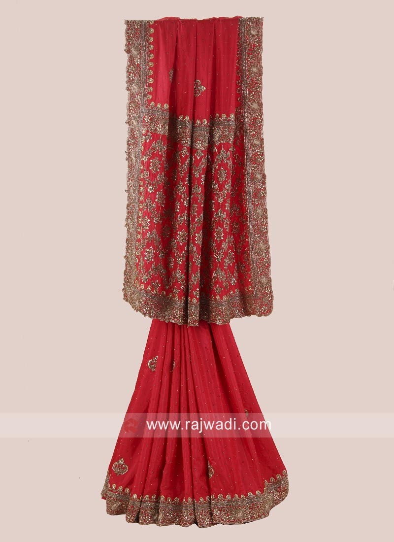 Red Wedding Saree in Silk