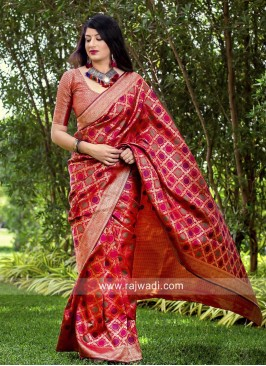 Red Wedding Saree with Border