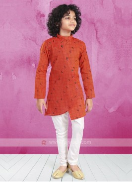 Rust & White Kurta Pajama For Boys
