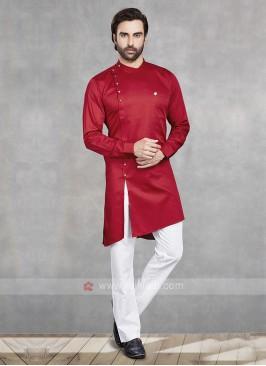 Red & White Kurta Pajama For Men