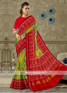 Red with lemon green color pure silk saree