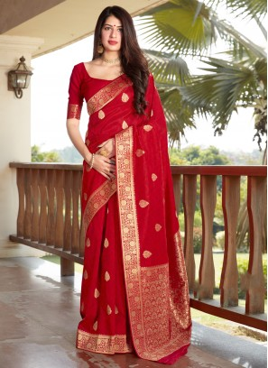 Red Woven Ceremonial Traditional Designer Saree