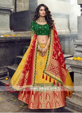 Red, yellow and green lehenga choli