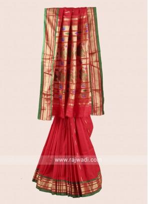 Red Zari and Resham Weaving Saree