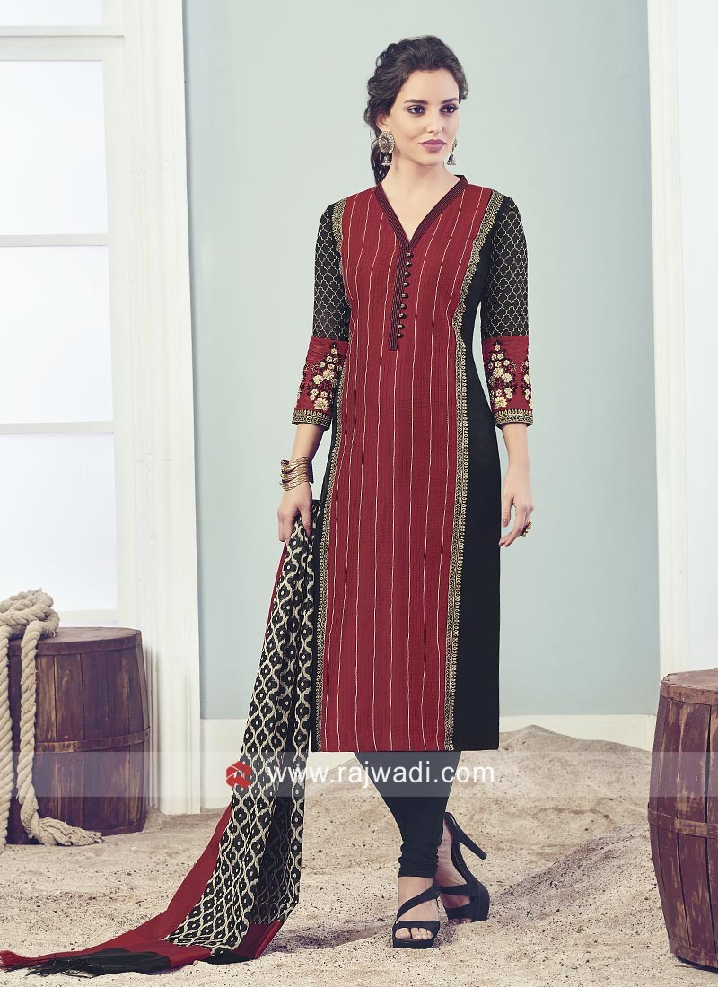 Red Zari Work straight Churidar Suit
