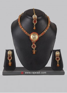 Red Zinc Alloy Necklace Set