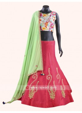 Redymade Taffeta Silk and Raw Silk Chaniya Choli