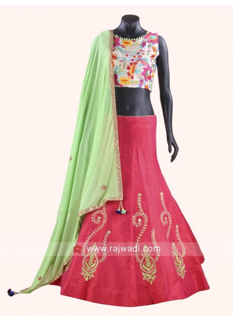 Redymade Taffeta Silk and Raw Silk Chaniya Choli