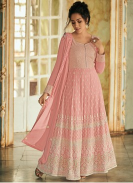 Refreshing Pink Fancy Faux Georgette Floor Length Anarkali Suit