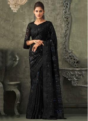 Regal Georgette Black Classic Designer Saree