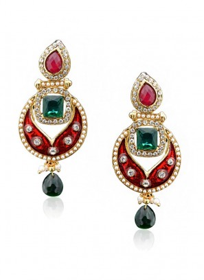 Regal Scarlet Enamel Earring
