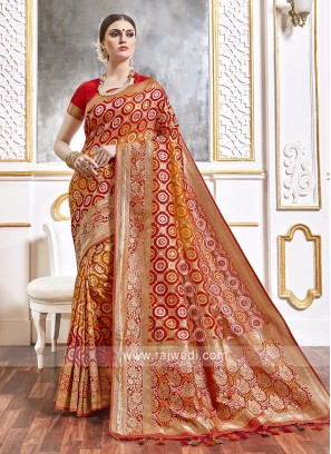 Viscose Red And Orange Saree