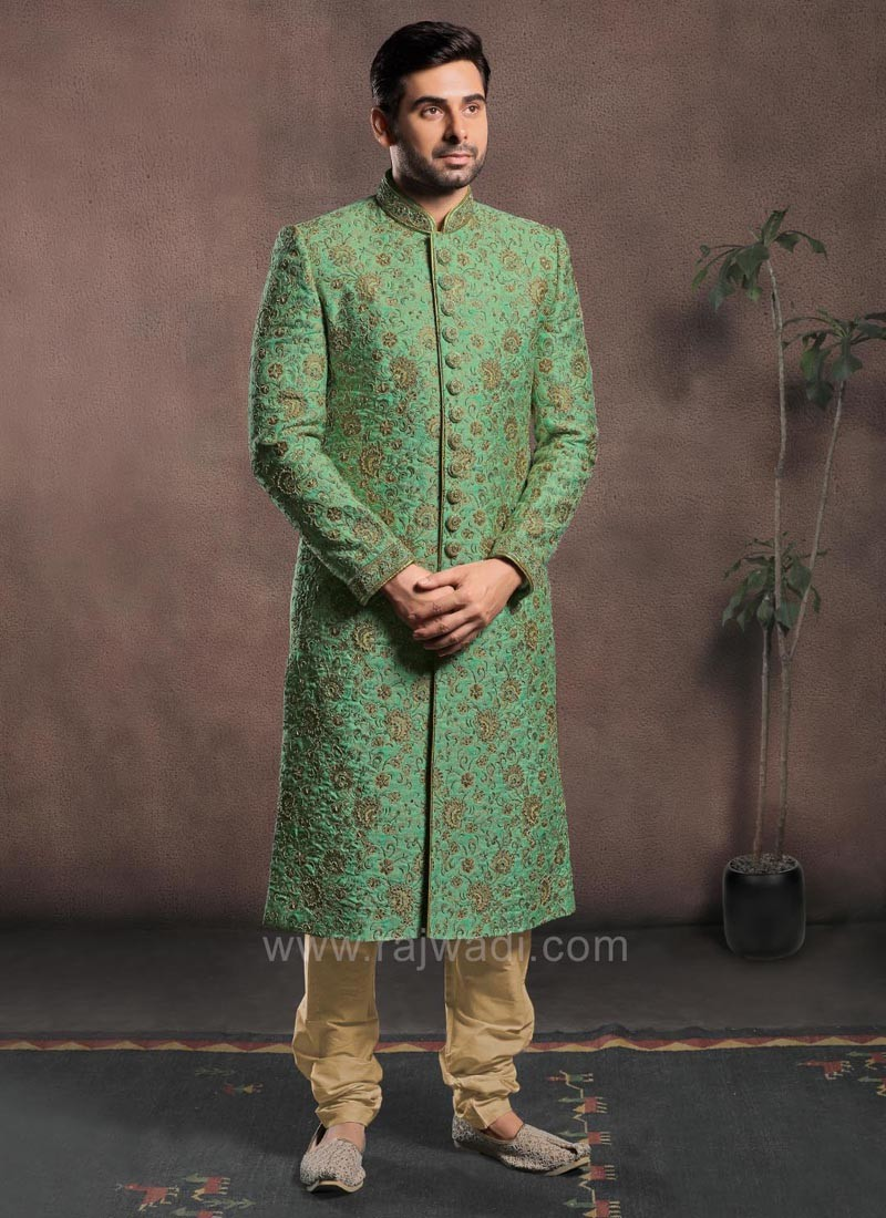 Resham and Cutdana Work Sherwani