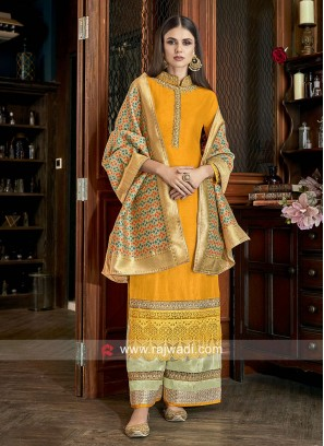 Resham and Diamond Work Palazzo Suit