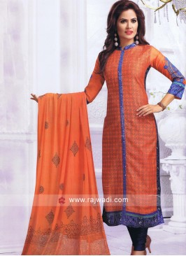 Resham and Plasic Mirror Work Salwar Kameez