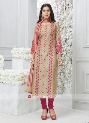 Resham and Plastic Mirror Work Salwar Suit