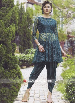 Resham and Sequins Work Dhoti Suit in Green