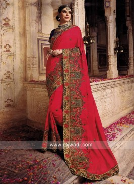 Resham and Stone Work Heavy Saree