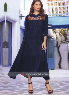 Resham and Thread Work Layered Kurti