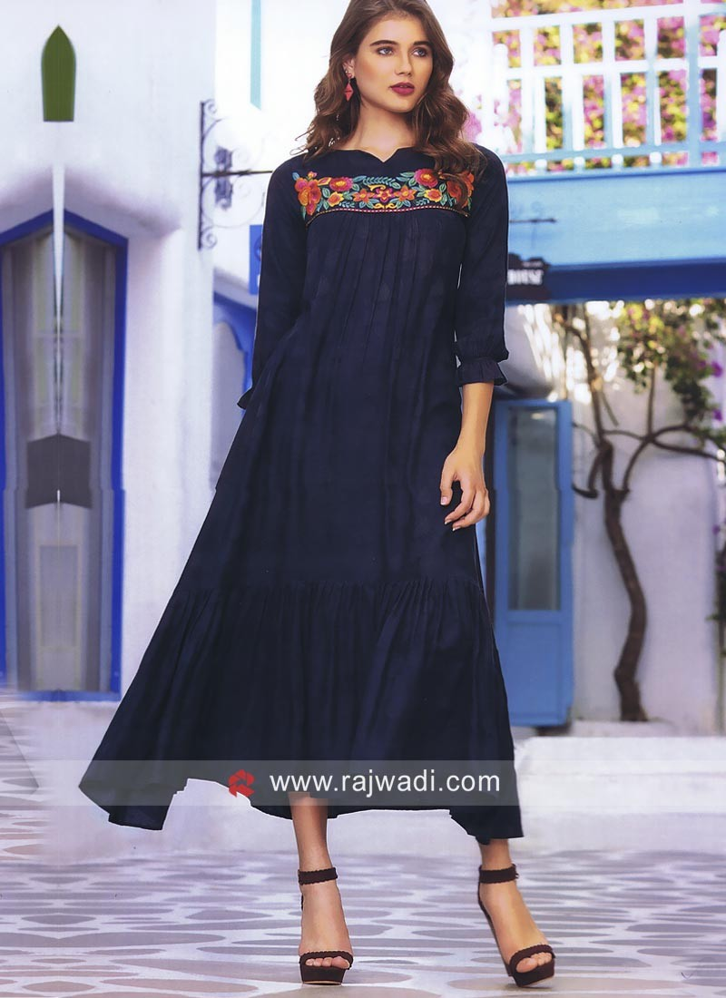 Resham and Thread Work Layered Kurti