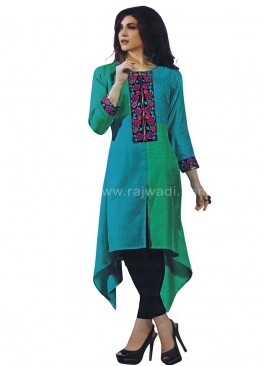 Resham and Thread Work Layered Style Kurti