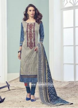 Resham and Zari Embroidered Salwar Suit