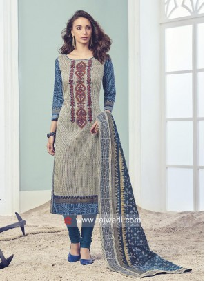 Resham and Zari Embroidered Salwar Suit